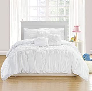 kensie Emilia Pintucked Duvet Set, Full/Queen, White