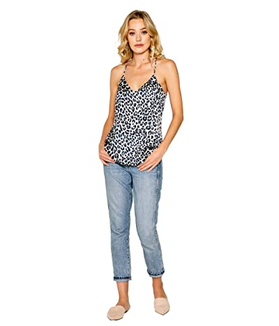 LAVENDER BROWN Cheetah Printed Cami with Adjustable Strap (Ivory/Navy) Women
