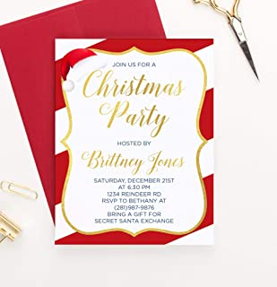 Personalized Simple Christmas Party Invitation, Custom Candy Cane Christmas Party Invites, Holiday Party Invitations, Your choice of Quantity and Envelope Color
