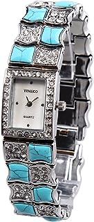 Time100 Women Quartz Bracelet Watches Fashion Simple Retro Round Shell Dial Plated Alloy Watch for Ladies (Diamond blue4)