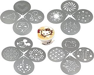 lofekea Barista Café plantillas, decoración de 16piezas Acero inoxidable Café plantillas plantilla para Latte Cappuccino, Cupcake Cookie plantillas