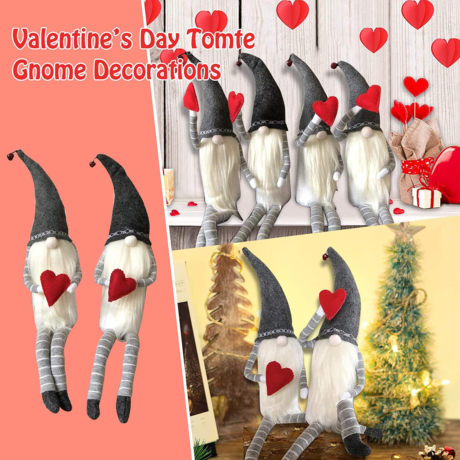 2PCS Valentines Day Decor B Valentine Gnome Couple Love Swedish Tomte Decorations Home Valentine Ornaments,Handmade Valentines Gifts for Women Farmhouse Holiday Home Decors Holiday Presents
