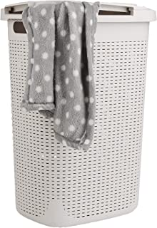 Mind Reader 60HAMP-IVO 60 Liter Basket, Laundry Hamper with Cutout Handles, Washing Bin, Dirty Clothes Storage, Bathroom, Bedroom, Closet, Ivory