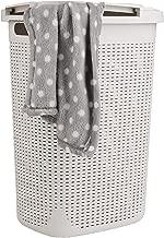 Mind Reader 60HAMP-IVO Basket, Laundry Cutout Handles, Washing Bin, Dirty Clothes Storage, Bathroom, Bedroom, Closet, Ivory 60 Liter Hamper