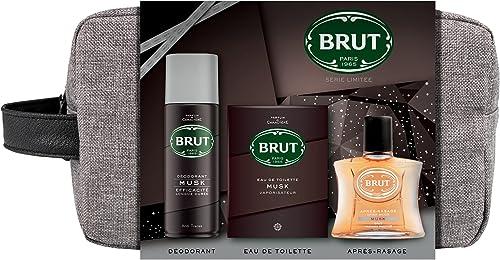 Brut Coffret Cadeau Homme Trousse Musk avec Déodorant Homme 200ml, Eau de Toilette Homme 100ml et Après-Rasage 100ml,...