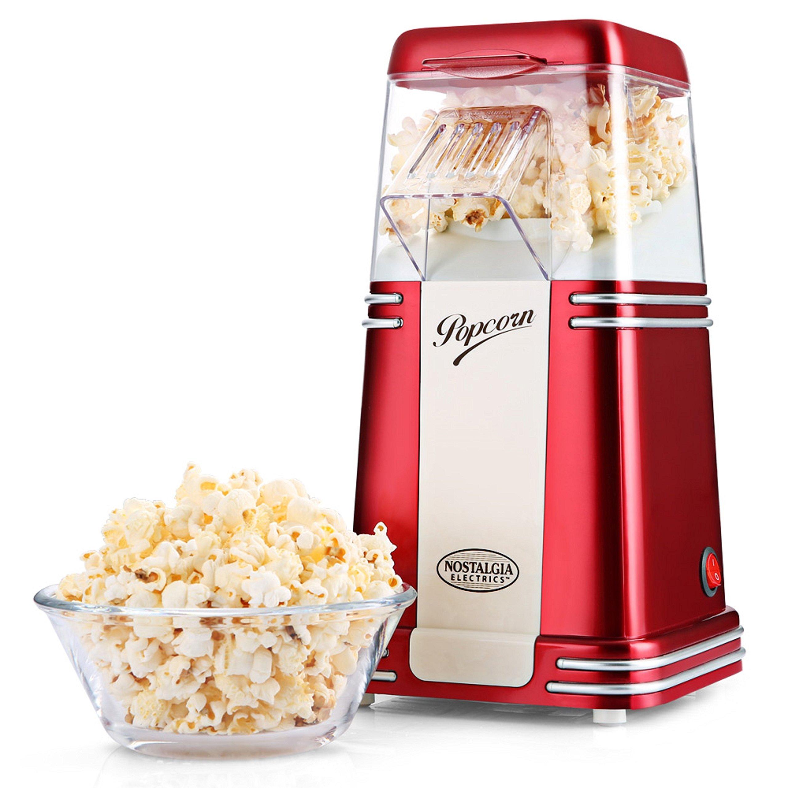 Palomitero Máquina de Palomitas Nostalgia 100% Libre de aceite para hacer popcorn, saludable, Fácil de limpiar, popcorn maker, Rojo: Amazon.es: Hogar