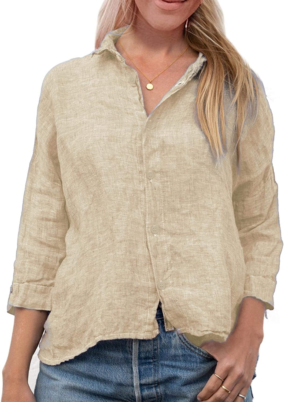 Gafeng Womens V Neck Linen Blouse Loose Fit Summer 3/4 Sleeve Button Down Shirt Tunic Tops