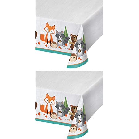 Zoo Themed Supplies Set of 2 Plastic Table Covers Baby Shower Boys /& Girls Birthday Animal Theme Decoration for Kids Event 54x102 Wild One Woodland Safari Party Tablecloth