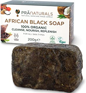PraNaturals Jabón Negro Africano 200g, Orgánico y Vegano