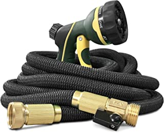 NGreen Garden Hose Flexible and Expandable - Collapsible Water Hose with Solid Brass Fittings and Spray Nozzle, Lightweight Retractable Leakproof Durable Gardening Hose Easy Storage Kink Free(100FT)