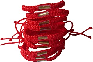 Lot of Red Color Handmade Buddhist Thai Wristband Brass Amulet Blessed Karma Good Luck Love Friendship Yoga Meditation Mindfulness Bracelet