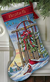 Dimensions Gold Collection Christmas Sled Stocking Counted Cross Stitch-16 Long