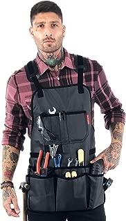Under NY Sky Tool Apron – Magnetic Tool Holder – Heavy Duty Gray Oxford Canvas – Cross-Back – 18 Pockets – Adjustable for Men, Women – Pro Mechanic, Woodworker, Carpenter, Electrician, Gardener Apron