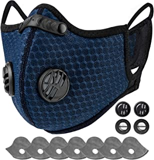 AstroAI Face Mask Reusable Dust Mask with Filters - Adjustable for Woodworking, Construction, Outdoor (Blue...