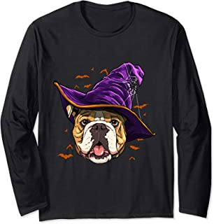 English Bulldog Witch Funny Halloween Gifts Dog Lover Long Sleeve T-Shirt