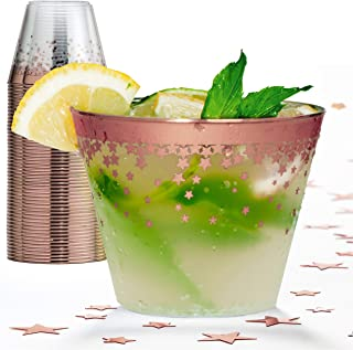 Elegant Rose Gold Rimmed 9 Oz Clear Plastic Tumblers Fancy Disposable Cups with Rose Gold Rim Prefect for Holiday Party Wedding and Everyday Occasions 100 Pack - Wonder Sky