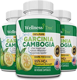 (3 Pack) Pure Garcinia Cambogia Extract - 95% HCA 3000mg Capsules - Best Weight Loss Supplement - Burn Fat & Boost Metabol...