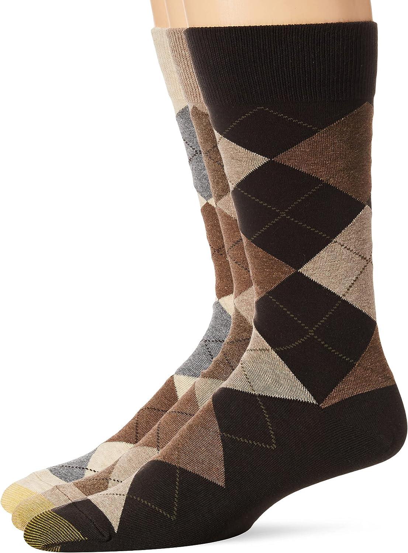 Gold Toe Men's Carlyle Argyle Crew Socks, 3-Pairs