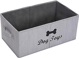Xbopetda Foldable Jumbo Fabric Dog Toy bin Storage Grey Toy Basket for Dog Toys (SlubGray)
