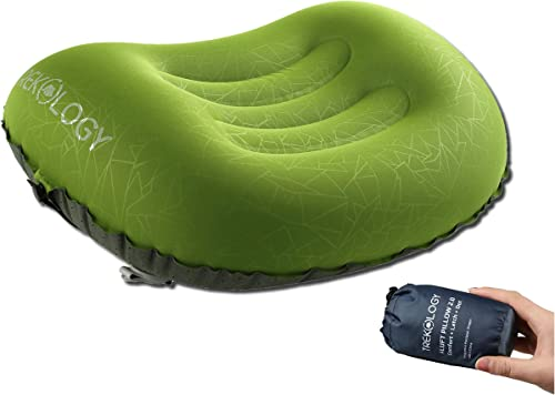 Trekology Ultralight Inflatable Camping Travel Pillow - ALUFT 2.0 Compressible, Compact, Comfortable, Ergonomic Infla...
