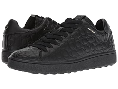 COACH Signature C Leather Deboss C101 Low Top Sneaker (Black) Men