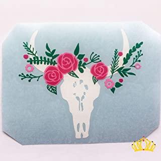Cow Skull with Flower Crown Vinyl Decal   Country Sticker for Yeti Tumbler, RTIC Cup, Hydroflask Water Bottle, Laptop, Car Window   3.5 inches