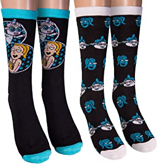 HYP Rick and Morty Tinkles 2-Pack Casual Crew Socks,Black,6-12