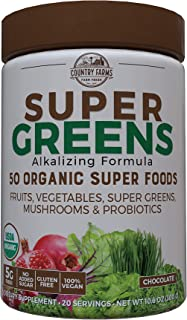 Country Farms Super Greens Flavor, 50 Organic Super Foods, USDA Organic Drink Mix, 20 Servings (Packaging May Vary), (N988...