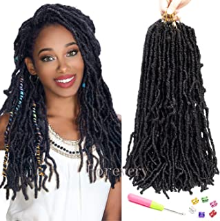 Forevery Nu Locs Crochet Hair 18inch 6Packs/lot Goddess locs Crochet Hair 100% Premium Fiber Faux Locs African Roots Dreadlock Synthetic Braiding Hair Extensions (18