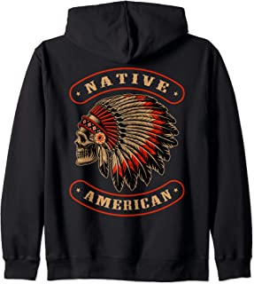 Native American Indians Chief Skull War Bonnet Feather Hat Zip Hoodie