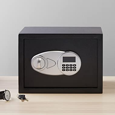 Amazon Basics Steel Security Safe with Programmable Electronic Keypad - Secure Cash, Jewelry, ID Documents - Black, 0.5 Cubic