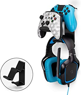 $22 » The UberAtlas - Dual Game Controller & Headphone Stand Wall Mount Holder for Xbox ONE, Series X, PS5, PS4, PS3, Switch, STEELSERIES Gamepad & More, Stay Organized No Screws by Brainwavz (Black)