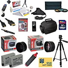 47th Street Photo Ultimate Accessory Kit for the Canon Rebel T2i, T3i, T4i, T5i, 650D, 700D, Kiss X5 Kiss X4, KissX6i, Kiss X7i, EOS 550D, 600D DSLR Digital Camera - Kit Includes: 64GB High-Speed SDXC Card + Card Reader + 2 Extended Life Batteries + Travel Charger + 58MM 0.43x HD2 Wide Angle Macro Fisheye Lens + 58MM 2.2x HD2 AF Telephoto Lens + 58MM 3 Piece Pro Filter Kit (UV, CPL, FLD Lens) + HDMI Cable + Padded Gadget Bag + Professional 60