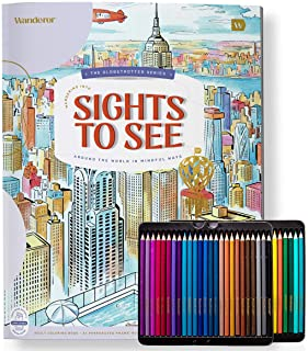 Wanderer Relaxing Adult Coloring Book Set with 50 Colored Pencils | Calming Motivational Coloring Book for Women, Men, Tee...