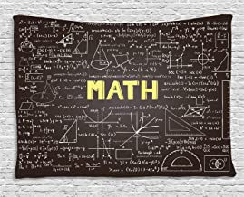Ambesonne Mathematics Classroom Decor Tapestry by, Dark Blackboard Word Math Equations Geometry Axis, Wall Hanging for Bedroom Living Room Dorm, 60 W X 40 L Inches, Dark Brown White Yellow