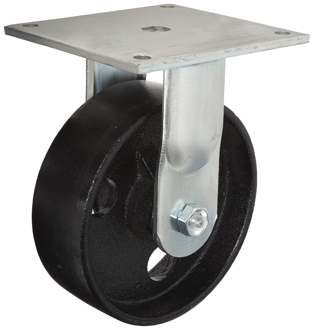 E.R. Wagner Plate Caster, Rigid, Cast Iron Wheel, Roller Bearing, 1000 lbs Capacity, 5