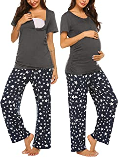 Ekouaer Women's Pajamas Short Sleeves V-Neck Top with Pants Pajama Set Sleepwear