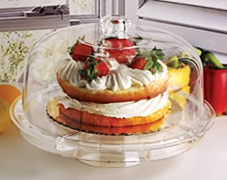 Circleware 10041 Acrylic Multi-Functional Glass Cake Stand Plate with Dome Home & Kitchen Entertainment Serveware for Fruit, Ice Cream, Dessert, Salad, Cheese, Candy, Food Serving Platter, 12