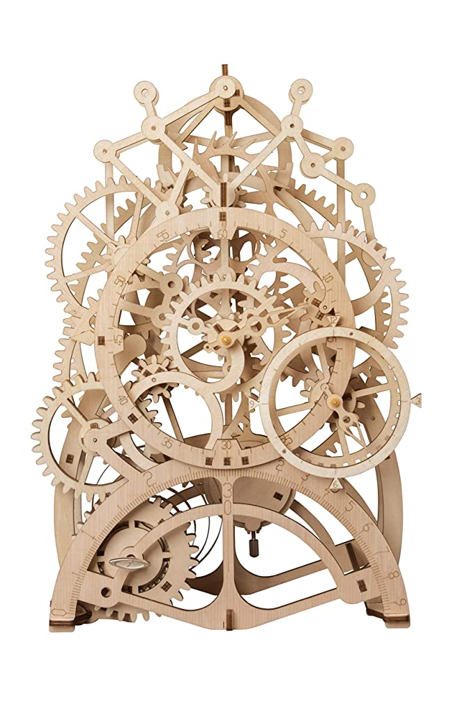 RoWood Mechanical Gear 3D Wooden Puzzle Craft Toy, Gift for Adults & Kids, Age 14+ DIY Model Building Kits - Pendulum Clock