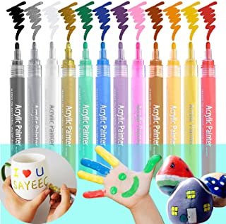 SAYEEC Set of 12 Reversible Tip Acrylic Paint Marker Pens for Rock Painting Mug Design Ceramic Glass Metal Wood Fabric Canvas Holiday Gift DIY Craft