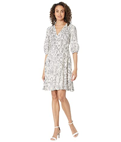 Calvin Klein Puff Sleeve Floral Print Rayon Challis Dress Women