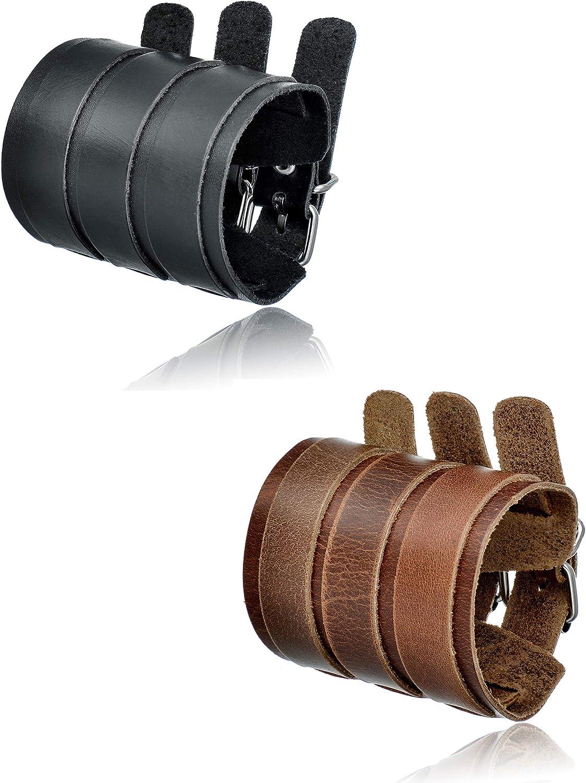 Tornito 1-2Pcs Genuine Leather Bracelet Punk Spike Studded Rivet Braided Chain Biker Bangle Three Wide Strap Gauntlet Wristband For Women Men Black Brown Size Adjustable