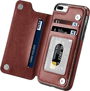 iPhone 7 Plus Case, iPhone 8 Plus Case, Hoofur Slim Fit Premium Leather Wallet Casae Card Slots Shockproof Folio Flip Protective Defender Shell for Apple iPhone 7 Plus (5.5 Inch) (Brown)
