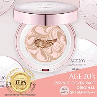 [ AGE TWENTIES ] Age 20's Compact Foundation Premium Makeup, Case + 1 Refill - Pink Latte Essence Cover Pact SPF50+ (Made in Korea) - Pink/Nude Beige (Color 21)