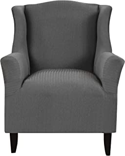 Madison Home Santa Barbara by Kathy Ireland Chair Grey Wingback Slipcover