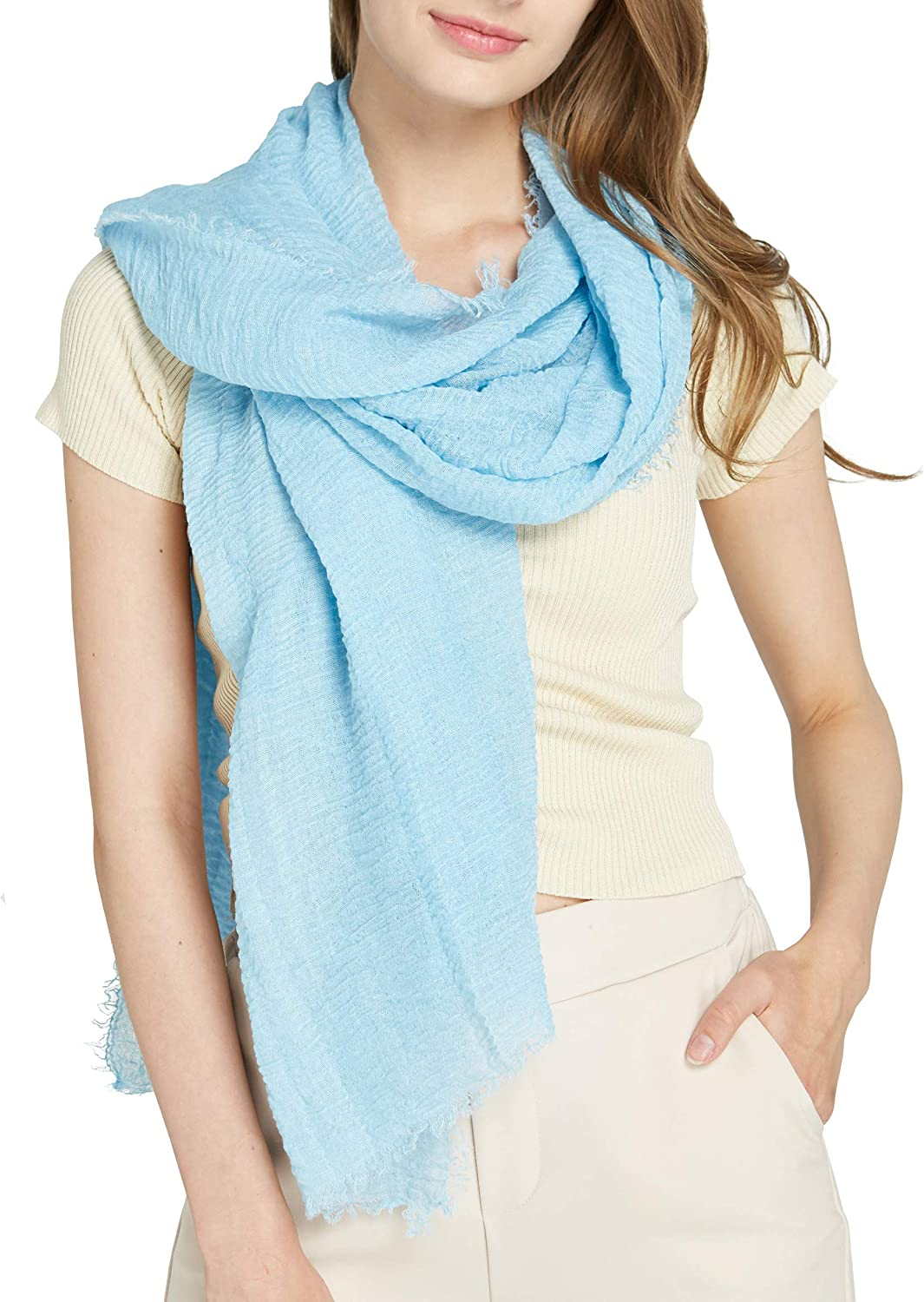 Long Plain Scarf Large Wrap for Women  Big Solid Crashed Wrinkle Soft Hair Scarf and Shawl