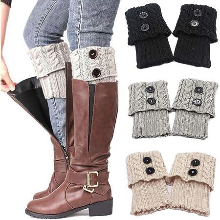 Womens Winter Knit Crochet High Knee Leg Warmers Boot Socks Cuff Toppers Slouch