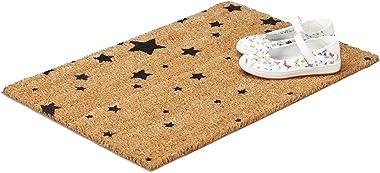 Relaxdays 10020168 Paillasson fibres de coco tapis de sol 60x40 dessous caoutchouc antidérapant PVC ETOILES porte entrée natu