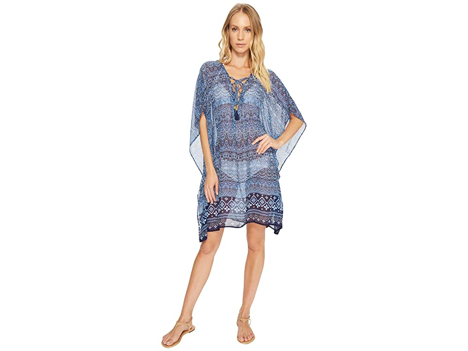 Tommy Bahama Indigo Cowrie Lace-Up Tunic Cover-Up (Mare Navy) Women