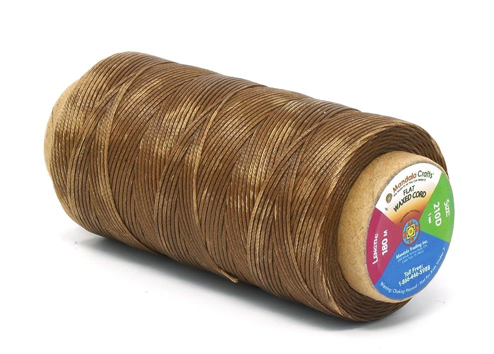 Mandala Crafts 150D 210D 0.8mm 1mm Leather Sewing Stitching Flat Waxed Thread String Cord (210D 1mm 180M, Tan)